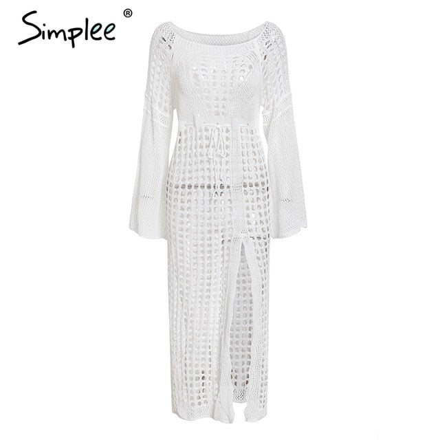 Simplee Sexy white women beach dress Summer hollow out long sleeve split sundress Elegant fashion holiday party vestidos 2019 - Slabiti