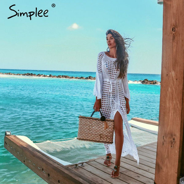 Simplee Sexy white women beach dress Summer hollow out long sleeve split sundress Elegant fashion holiday party vestidos 2019