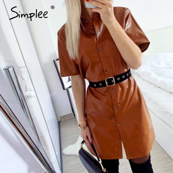 Simplee Sexy women PU leather dress Lapel buttons short sleeve bodycon faux ofiice dress Straight work wear lady chic mini dress