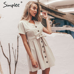 Simplee Vintage button women dress shirt V neck short sleeve cotton linen short summer dresses Casual korean vestidos 2019 festa - Slabiti
