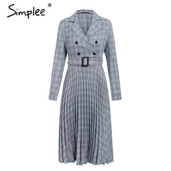 Simplee Vintage pleated belt plaid dress women Elegant office ladies blazer dresses Long sleeve female autumn midi party dress - Slabiti