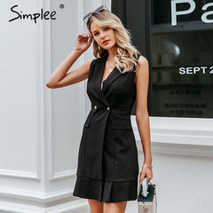 Simplee White blazer work dress women V neck ruffle A line slim sleeveless party dress Office ladies short white dress vestidos - Slabiti