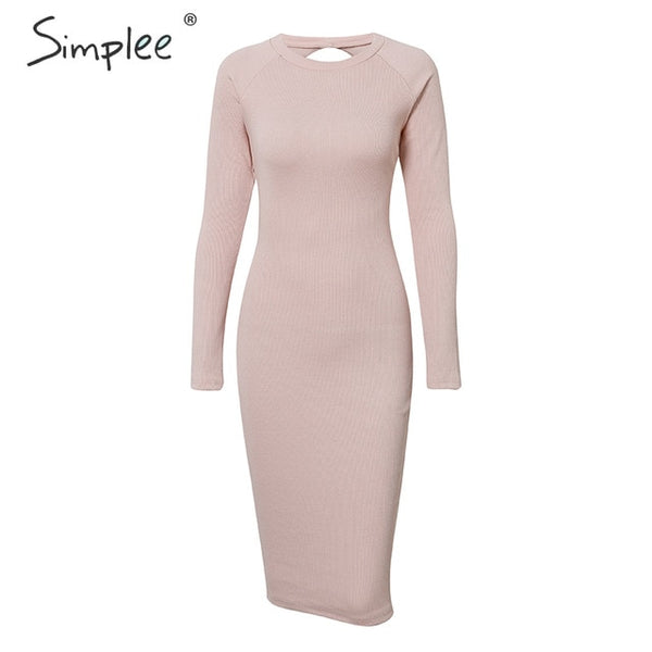 Simplee Women backless knitted bodycon dress Elegant office lady long sleeve sexy autumn dress Sheath o-neck sweater party dress