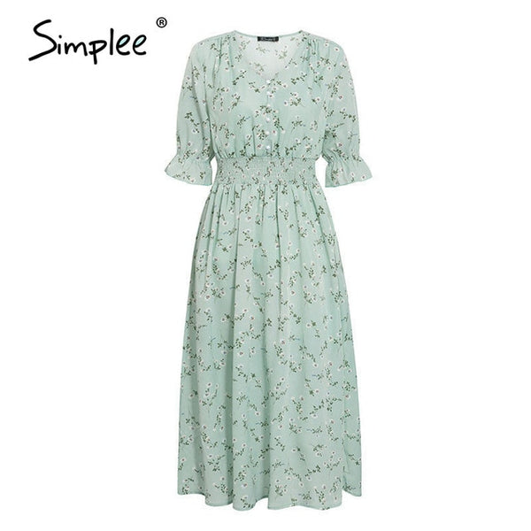 Simplee Women floral print dress Elegant puff sleeve a line v neck sash dress High waist work wear office lady dress