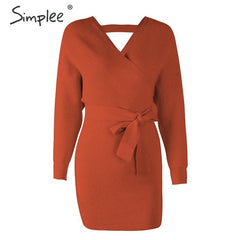 Simplee Women mini sweater dress Wrap high waist v-neck belt knitted dress Casual ladies autumn winter vintage office sexy dress - Slabiti