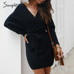 Simplee Women mini sweater dress Wrap high waist v-neck belt knitted dress Casual ladies autumn winter vintage office sexy dress