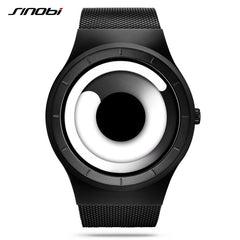 Sinobi Vortex Watches Men Sport Casual High Quality Stainless Steel Retro Milanese Band Modern Unique Creative Black Wristwatch - Slabiti
