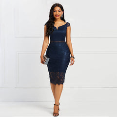 Sisjuly Bodycon Women Dress Lace Slash Neck Hollow Backless Sexy Elegant OL Party Chic Summer Patchwork Sheath Retro Dresses - Slabiti