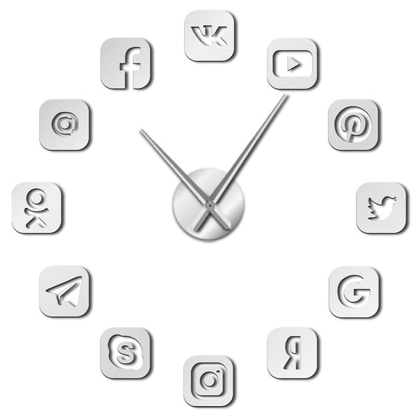 Social Media Symbols DIY Wall Art Giant Wall Clock Office College Dorm Decor 3D Frameless Icons Wall Clock Gifts for Teenagers - Slabiti