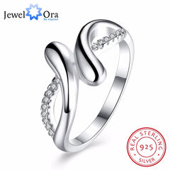 Solid 925 Sterling Silver Ring Irregular Design Zircon Female Trendy Fashion Jewelry Party Rings For Women (JewelOra RI102649) - Slabiti