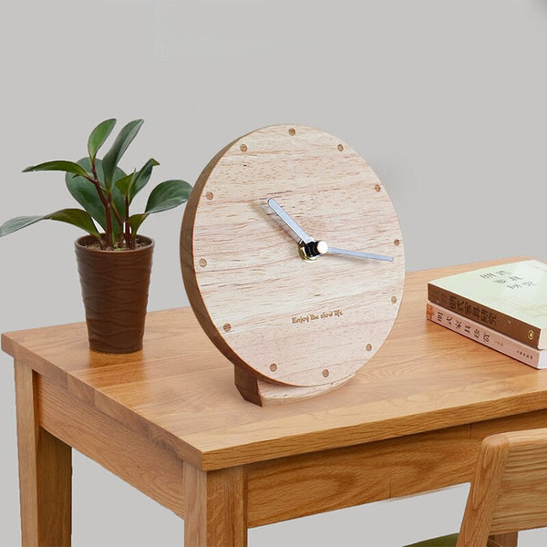 Solid wood clock living room modern minimalist pendulum desktop desktop clock silent clock Nordic creative bedroom sitting - Slabiti
