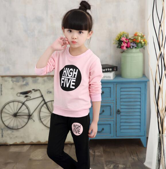 Sportswear for Girls 3-12Y Kid's Sport Suit Letter Long Sleeve T-shirt for Girls + Striped Pant Autumn Winter Girls' Clothes - Slabiti