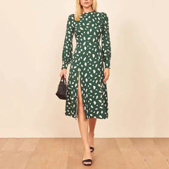 Spring Autumn Vintage Party Dress Elegant Sexy Split Dress Beach Female Floral Green Long Sleeve Mid Dresses Vestidos - Slabiti