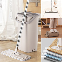 Squeeze Hand Free Flat Mop Bucket With Stainless Steel Handle Wet Dry Floor Cleaning 360 rotatable heads With Reusable Mop Pads - Slabiti