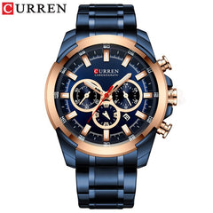 Stainless Steel Men's Watch CURREN New Sports Watch Chronograph and Luminous pointers Wristwatch Fashion Mens Dress Watches - Slabiti