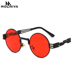 Steampunk Sunglasses Luxury Men Round Sun glass Coating Glasses Metal Vintage Retro Lentes  of Male 16 colors - Slabiti