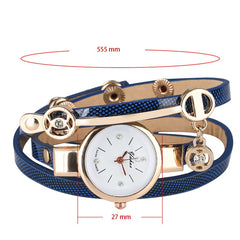 Stylish Lady Bracelet Watches Quartz Timepiece Leather Inlace Bangle Wristband Casual Elegant Watch for Women reloj femenino - Slabiti