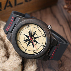 Stylish Wooden Watches Quartz Watch Men Nature Dark Brown Sandalwood Modern Casual Bangle Hot Man's Sport Wristwatch Timepiece - Slabiti