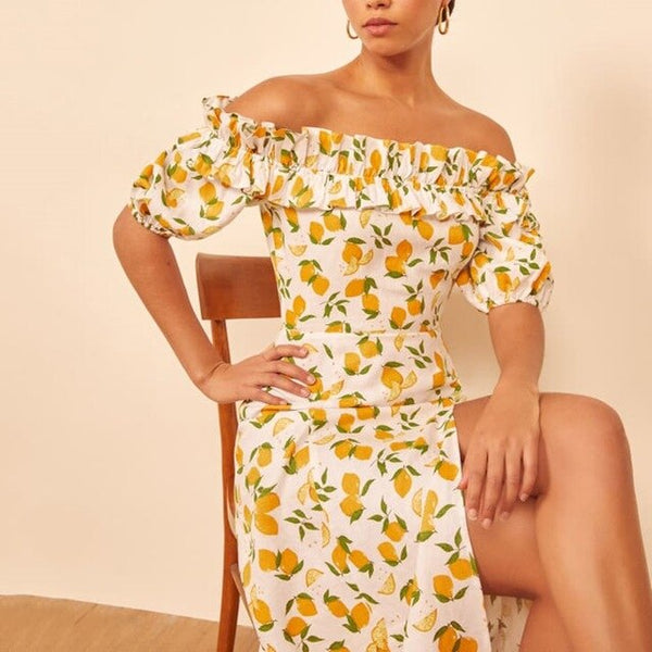Summer Dress Women Vintage Dress Casual Lemon Print A-Line Party Dresses Sexy  Off Shoulder  Short Sleeve Long Dress Fashion - Slabiti