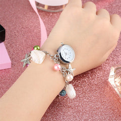 Summer Fashion Women Watches Beach Style Glass Beads Bracelet Design Chain Bangle Quartz Watch Elegant Cuff Clock Gifts Female - Slabiti