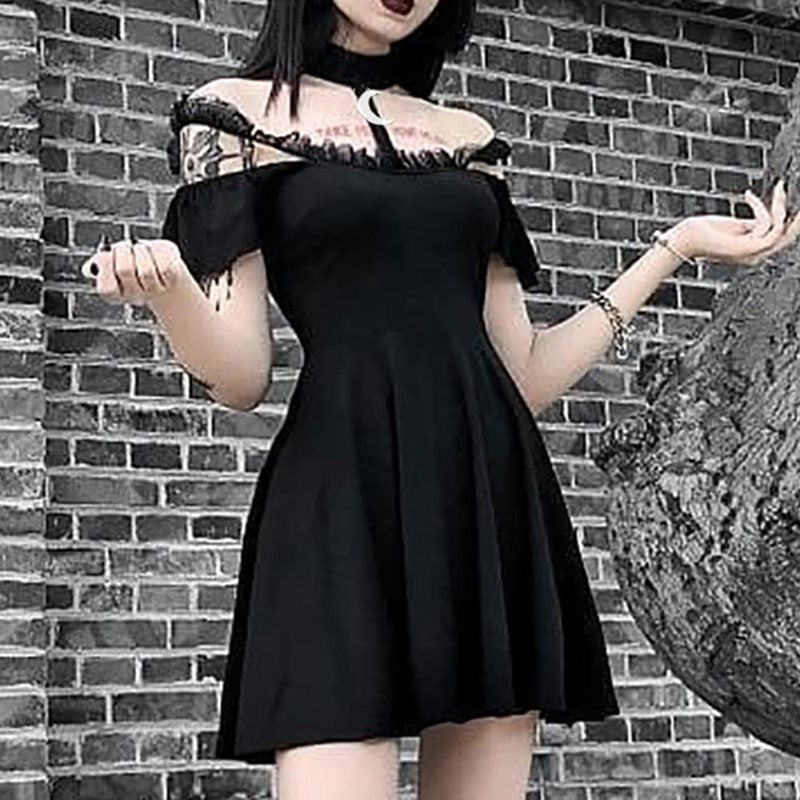 Summer Gothic Chic Elegant Harajuku Black Women Mini Dresses Sexy Club Punk Mesh Moon Lace Strapless Female Goth Zipper Dress - Slabiti