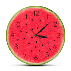 Summer Time Watermelon Modern Wall Clock With Numbers Troipcal Kitchen Wall Art Decor Fruit Style Slient Quartz Round Wall Clock - Slabiti