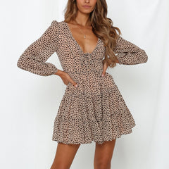 Summer V Neck Long Sleeve Chiffon Dress Short Lace Up Print Ladies Skater Dress Vestidos Femme Fashion Leopard Dress For Women - Slabiti