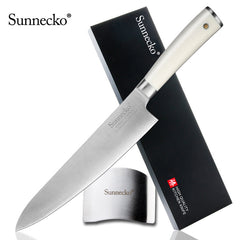"Sunnecko 8"" Chef's Knife with Safe Finger Hand Guard German 1.4116 Steel Blade ABS Handle Finger Protector Christmas present - Slabiti"
