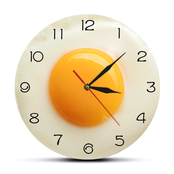 Sunny Side Up Fried Egg Kitchen Wall Clock 3D Flat Design Breakfast Food Wall Art Dining Room Interior Decor Silent Wall Watch - Slabiti