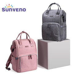 Sunveno Fashion Diaper Bag Backpack Quilted Large Mum Maternity Nursing Bag Travel Backpack Stroller Baby Bag Nappy Baby Care - Slabiti