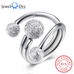 Surround Design Ball Adjustable Rings for Women Solid 925 Sterling Silver Party Jewelry Gift Ideas for Mom (JewelOra RI102206) - Slabiti