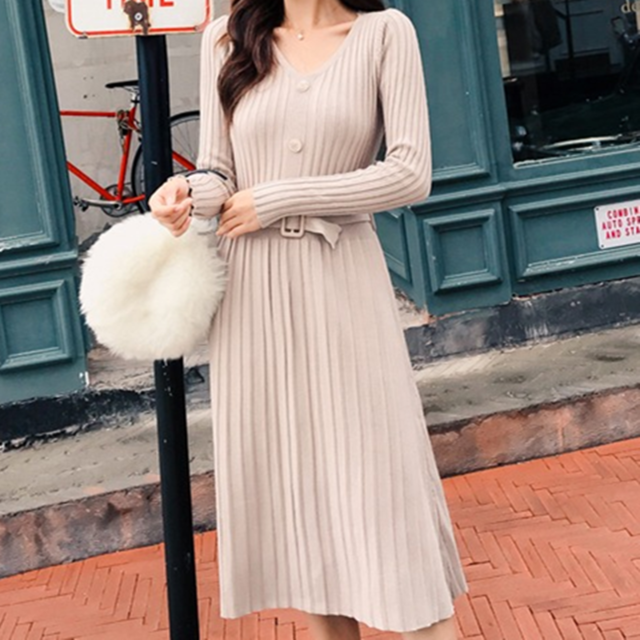 Sweater Dress Women Korean Woman Sweaters Dresses Vestidos De Fiesta Woman High Waist V Neck Wool Knitted Dress Cardigan Dresses - Slabiti