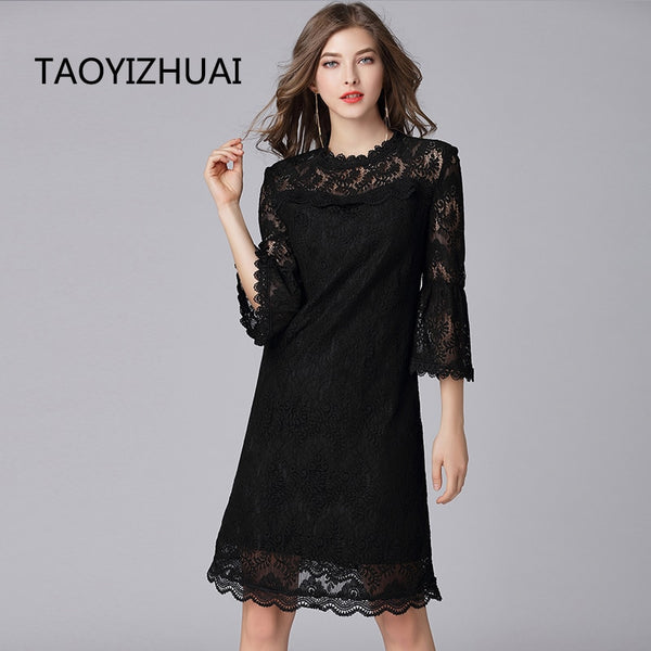 TAOYIZHUAI 2019 Autumn Women Balck Dress Large Size Hollow Out Flare Sleeve Collar Zipper Fly Casual Lace Dress For Women 16089 - Slabiti