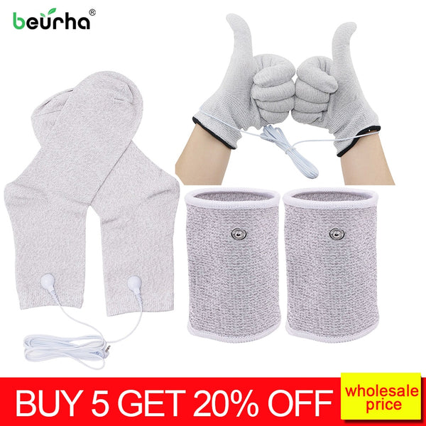 TENS EMS Electrode Electric Glove Sock Bracer Cable Conductive Silver Fiber For Body massage Healthy pads Phycical Therapy - Slabiti