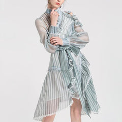 TWOTWINSTYLE Striped Dress Female Ruffles Off Shoulder Lantern Sleeve Belt High Waist Asymmetrical Dresses 2019 Spring Tide New - Slabiti