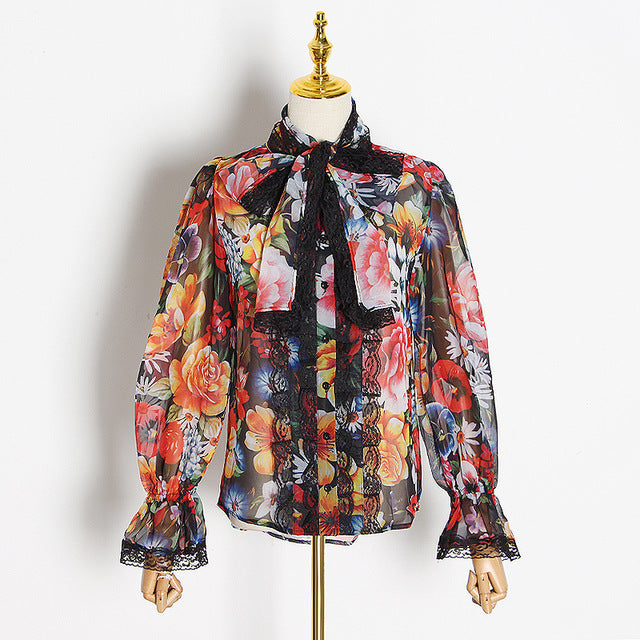 TWOTWINSTYLE Women's Shirts Blouse Bowknot Flare Long Sleeve Patchwork Lace Print Tops Female Elegant Fashion - Slabiti