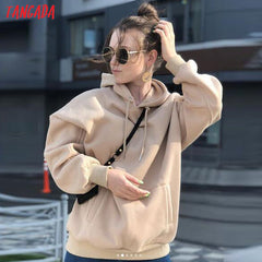 Tangada women fleece hoodie sweatshirts winter japanese fashion 2019 oversize ladies pullovers warm pocket hooded jacket SD60 - Slabiti