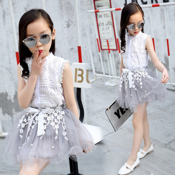 Teenage Girls Clothes Sets Summer Spring Lace Shirt + Dress Kids Outfit Clothes Set 6 8 10 12 Kids Girls Clothes - Slabiti