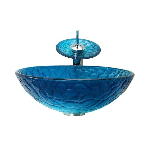 Tempered Glass Vanity Basin Toilet Blue Mediterranean Art Basin Above Counter Basin LO612352