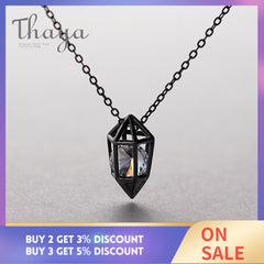 Thaya Diamond Heart Pendant Necklace s925 silver Black Chain Protect cubic zircon simple Dainty Jewelry for women Gift - Slabiti