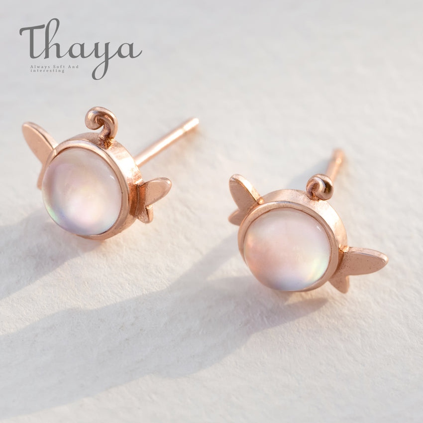 Thaya Elf Rose Gold Stud Earrings Glowing Crystal Gemstone Tiny Wings Long Droop Back Tail Jewelry for Women Lovely Gift - Slabiti