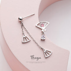Thaya Pink Asymmetry Girlish Earrings 925 Silver Fashion Stud Earrings For Girl Special  Fine Jewelry - Slabiti