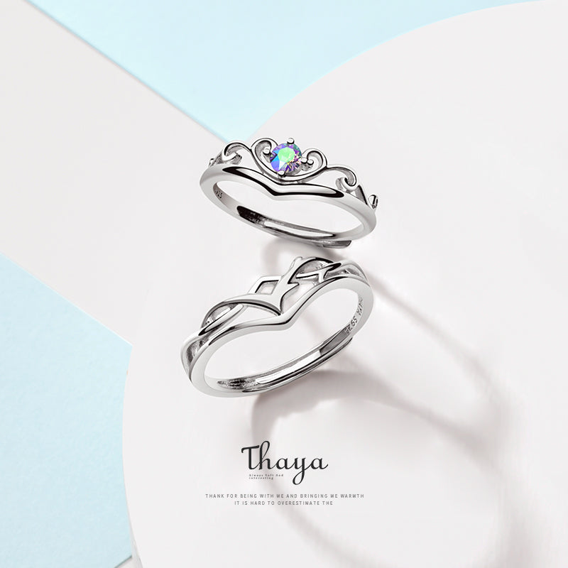 Thaya S925 Sterling Silver Rings Creative Design Fairy Fruit Rings Couple Ring For Wedding Engagement Gift Fine Jewelry - Slabiti