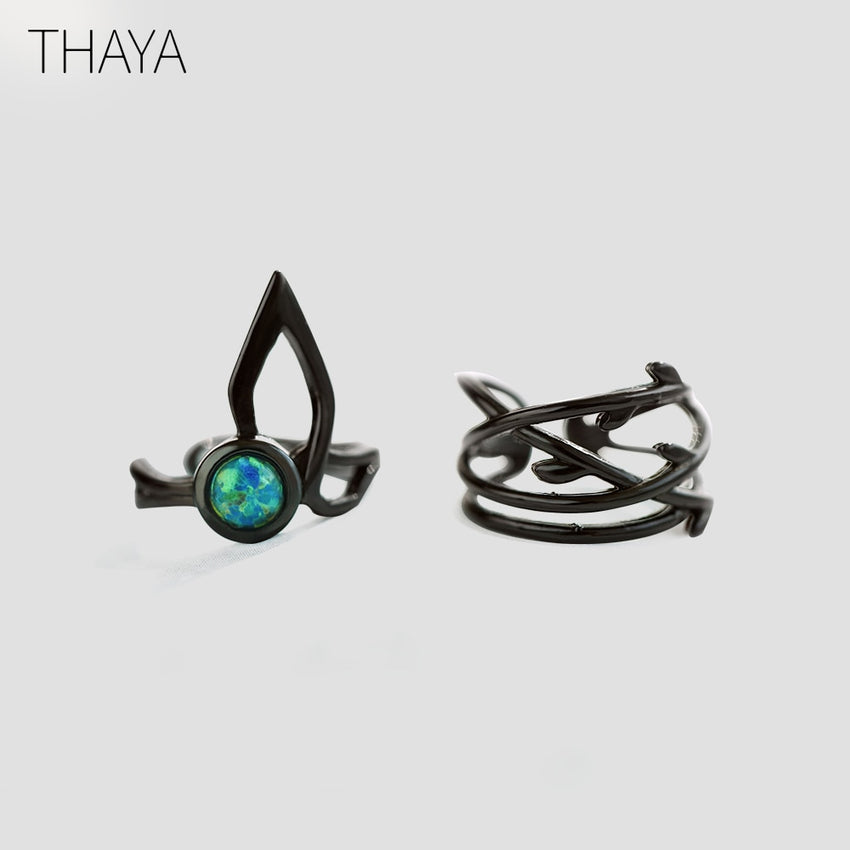 Thaya Spirit Forest 925 silver clip earrings opal gemstone Black punk Round ear cuffs Without Piercing for women soul jewelry - Slabiti