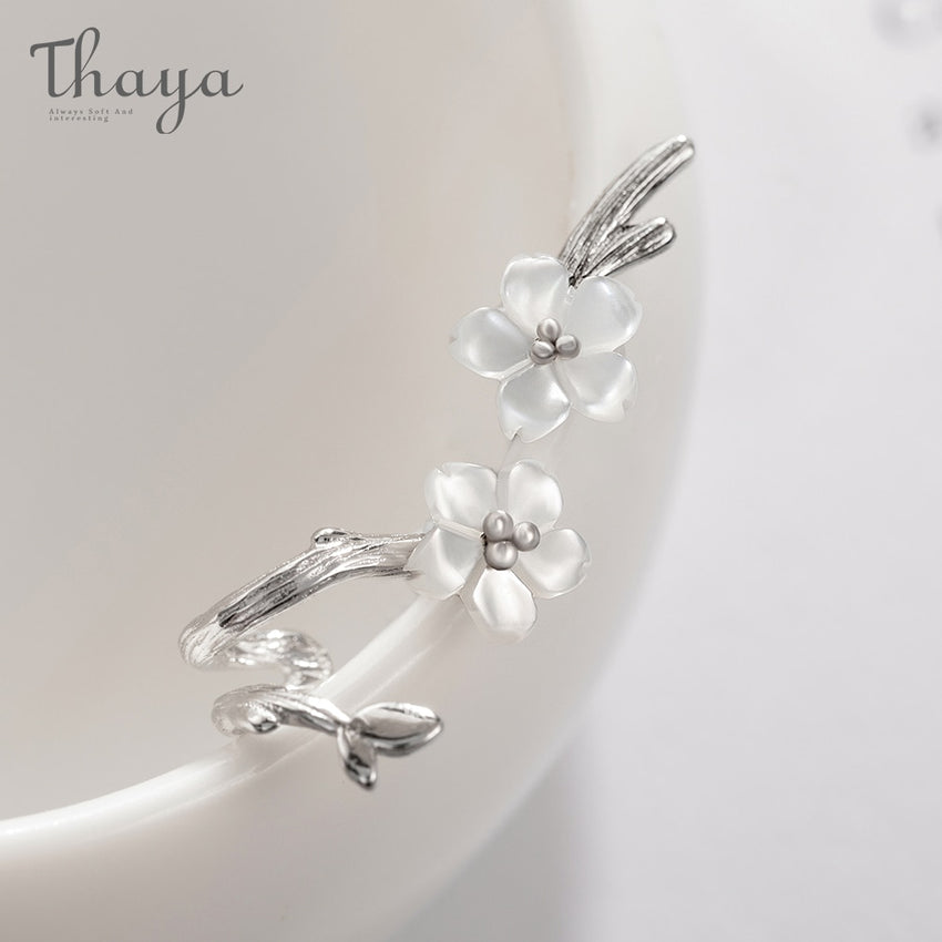 Thaya White Cherry s925 Silver Earrings Flower Round Cuff Earrings For Women Elegant Fine Jewelry - Slabiti