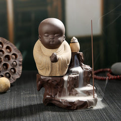 The Little Monk Censer Creative Home Decor Small Buddha Incense Holder Backflow Incense Burner Use In Home Office Teahouse - Slabiti