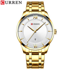 Top Brand CURREN Men Stainless Steel Business Watches with Auto Date Classic Quartz Wristwatch for Men Stainless Steel Clock - Slabiti