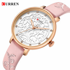 Top Brand CURREN Women Watches Pink Leather Wristwatch with Rhinestone Ladies Clock Fashion Luxury Quartz Watch Relogio Feminino - Slabiti