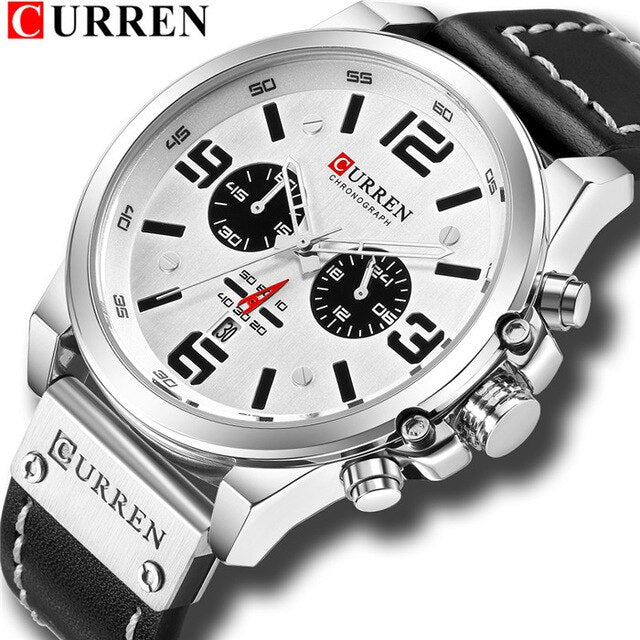 Top Brand Luxury CURREN 2018 Fashion Leather Strap Quartz Men Watches Casual Date Business Male Wristwatches Montre Homme - Slabiti