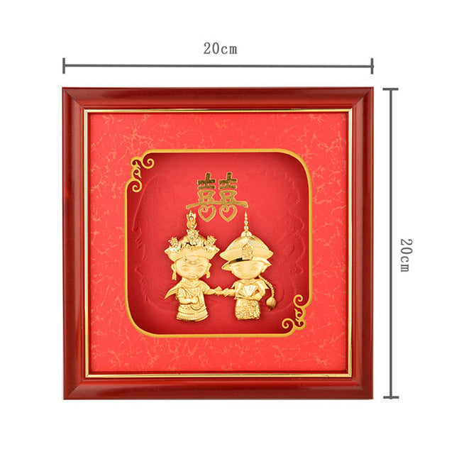 Traditional Chinese paintings Wedding decor 24k Gold Foil pictures poster Wall Picture For Bedroom Home Decor Desktop Crafts - Slabiti